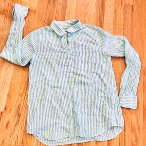 J Crew Roll Sleeve Pale Green Stripe Button Up S/4
